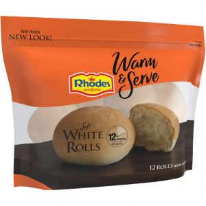 A package of Warm & Serve Soft White Rolls.